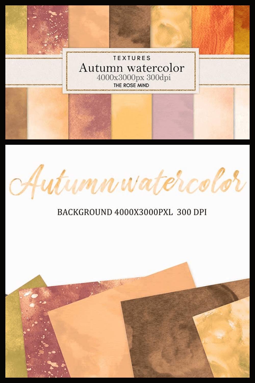 Autumn backgrounds: 18 watercolor backgrounds - MasterBundles - Pinterest Collage Image.