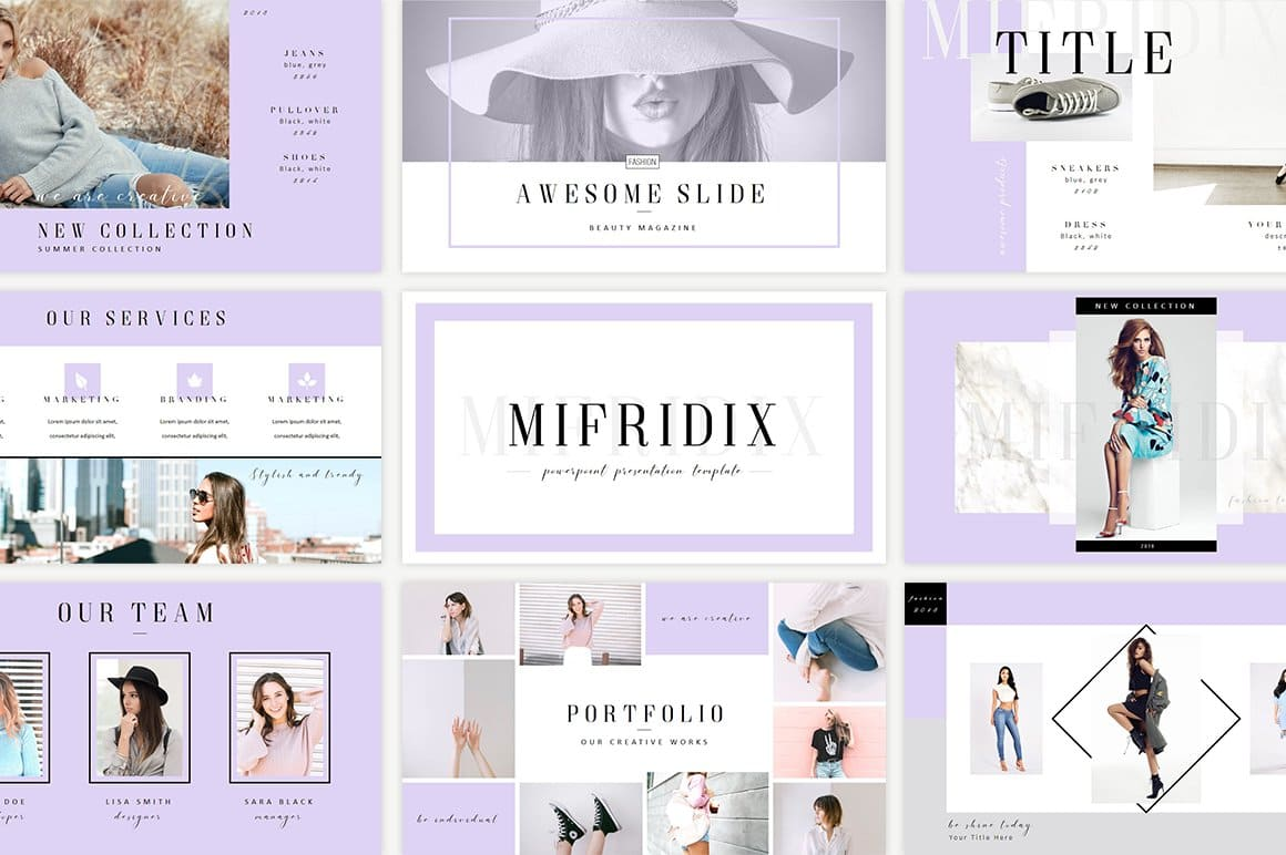 Mifridix - Powerpoint Template in gray.