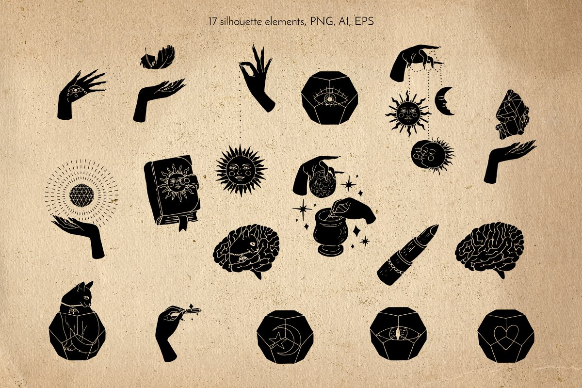 17 Witchy Magical Mystic Line Art Vector Ilustration Dark.