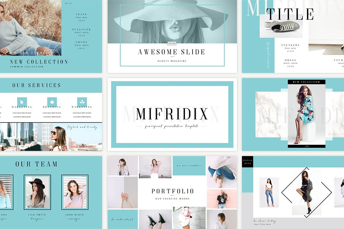 Mifridix - Powerpoint Template in bright blue.