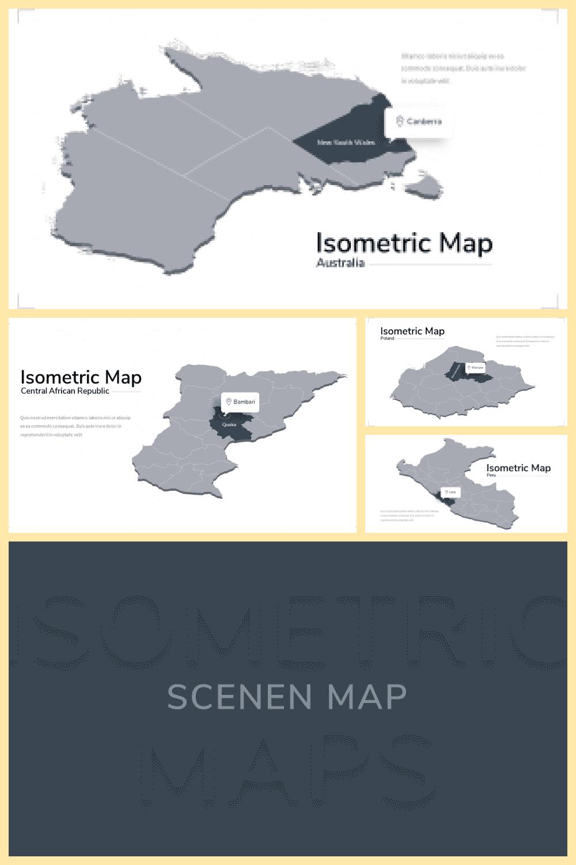 Isometric Map Presentation: Powerpoint, Keynote, Google Slides - MasterBundles - Pinterest Collage Image.