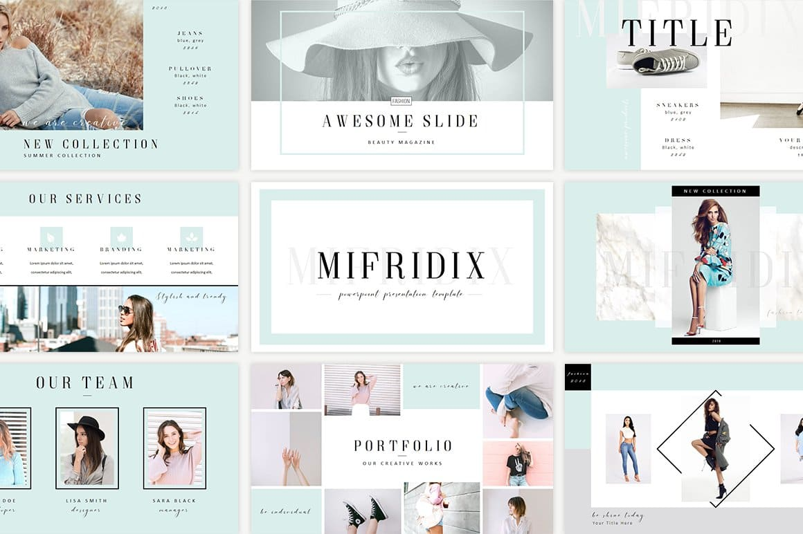 Mifridix - Powerpoint Template in pale blue.