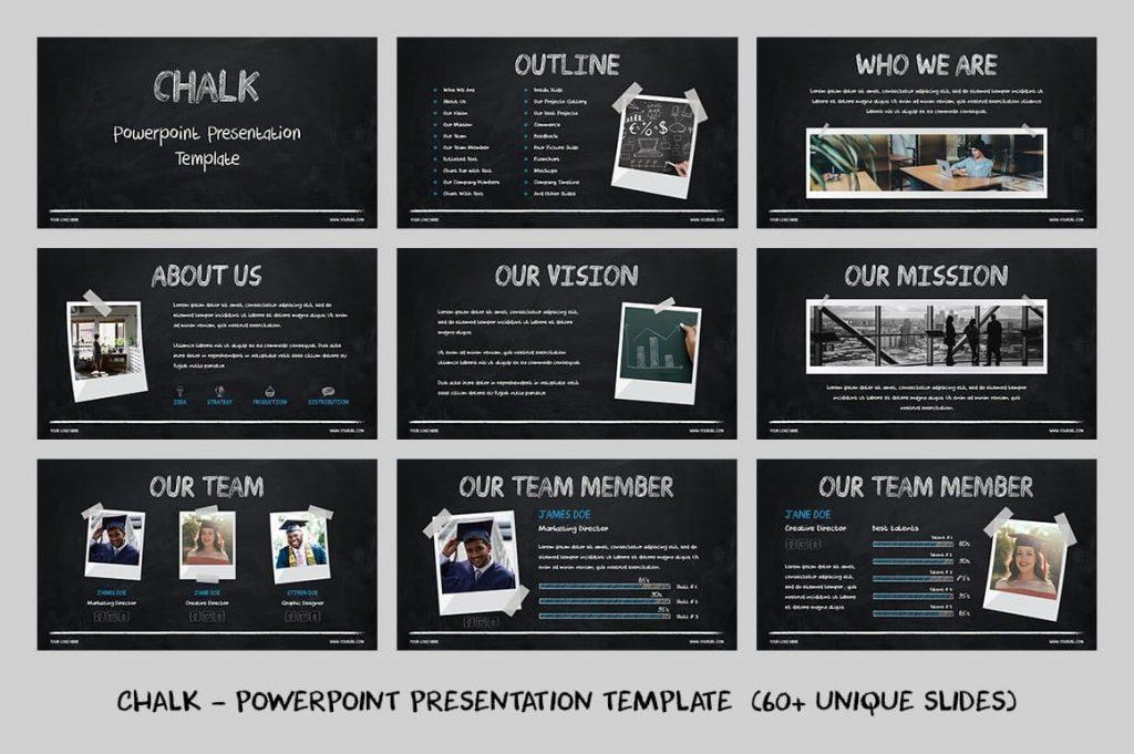 60+ Unique Slides Chalk - Powerpoint Template.