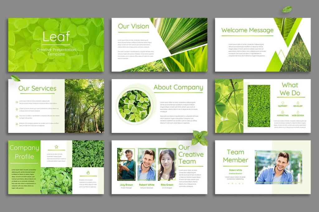 Leaf Opening Slides - Powerpoint Template.