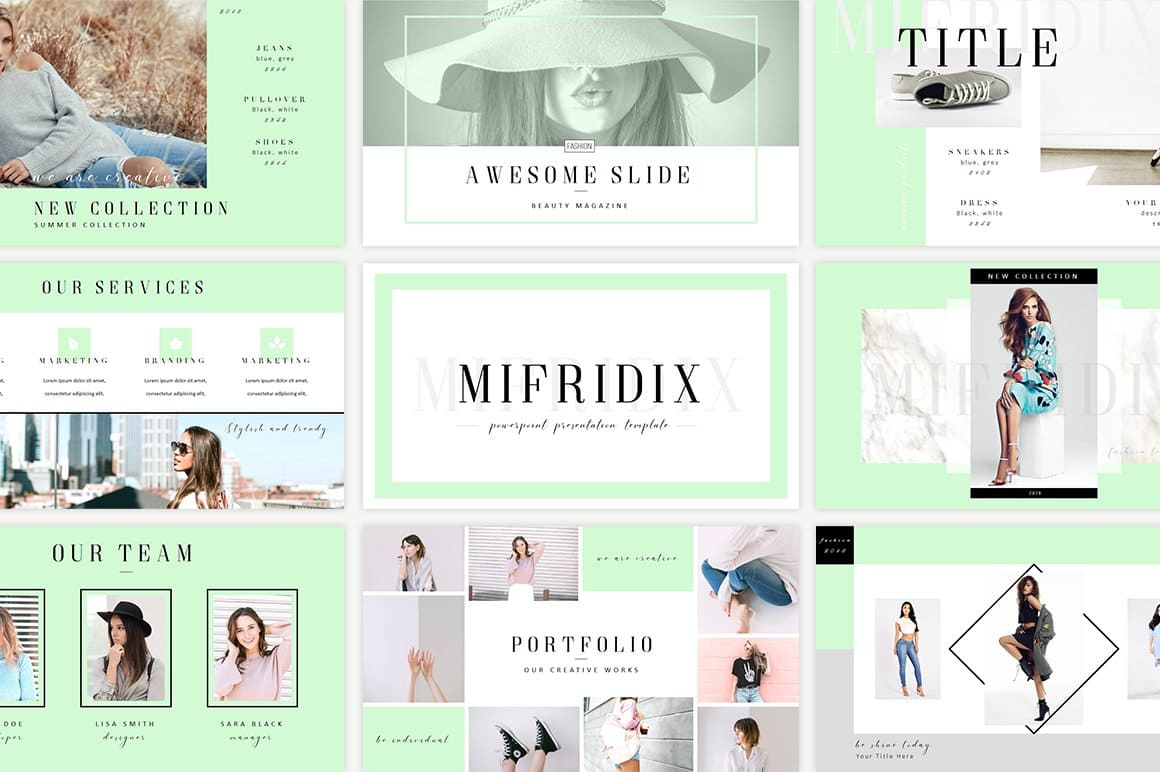 Mifridix - Powerpoint Template in mint color.