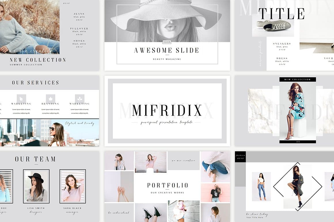 Mifridix - Powerpoint Template in bright gray.