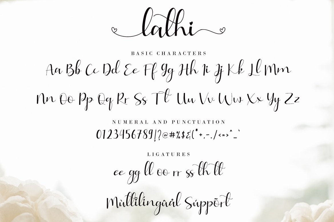 2A wide range of swashes and alternates are included so that you can give your logo or name a custom, hand-calligraphy look.