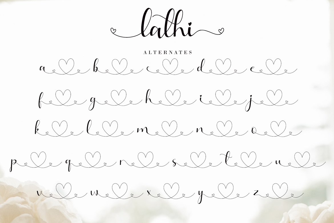 an elegant modern calligraphy font inspired by delicate inky hand lettering, gorgeous wedding calligraphy and trending minimal branding designs.