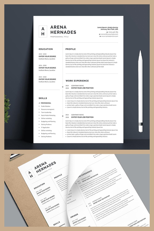 Minimalist Resume Template - MasterBundles - Pinterest Collage Image.