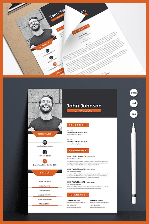 Creative Resume Template - MasterBundles - Pinterest Collage Image.