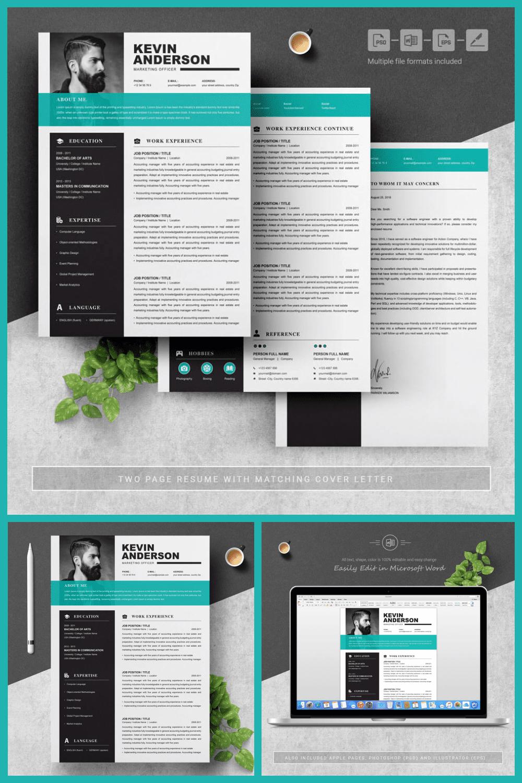 Marketing Officer Resume Template - MasterBundles - Pinterest Collage Image.