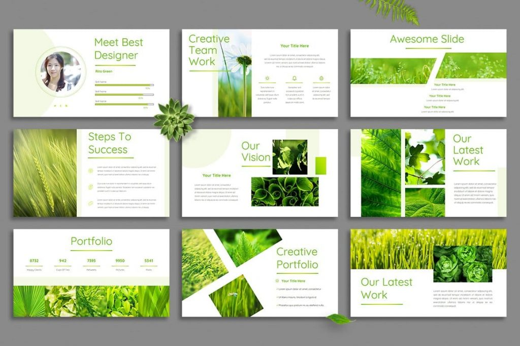 Leaf Slide Examples - Powerpoint Template.