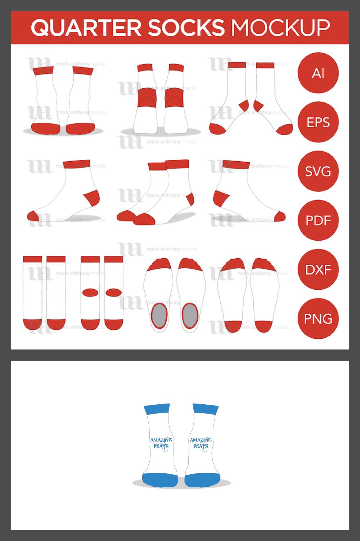Quarter Ankle Socks – Vector Template Mockup - MasterBundles - Pinterest Collage Image.