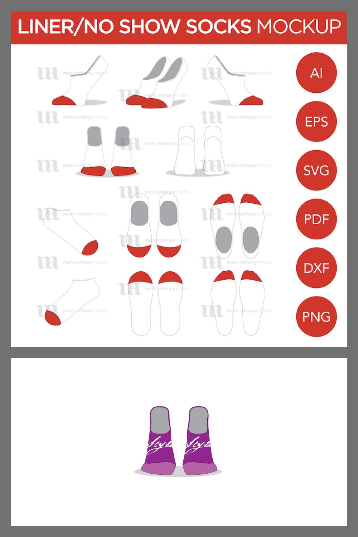 Liner No Show Ankle Socks – Vector Template Mockup - MasterBundles - Pinterest Collage Image.