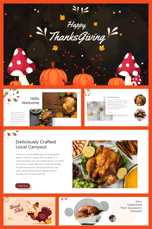 Thanksgiving Presentation: Powerpoint, Keynote, Google Slides - MasterBundles - Pinterest Collage Image.