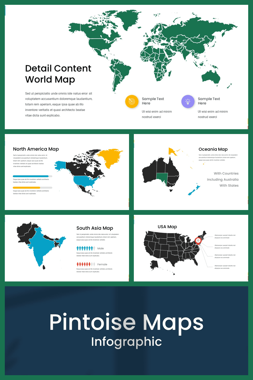 Maps Presentation: Powerpoint, Keynote, Google Slides - MasterBundles - Pinterest Collage Image.