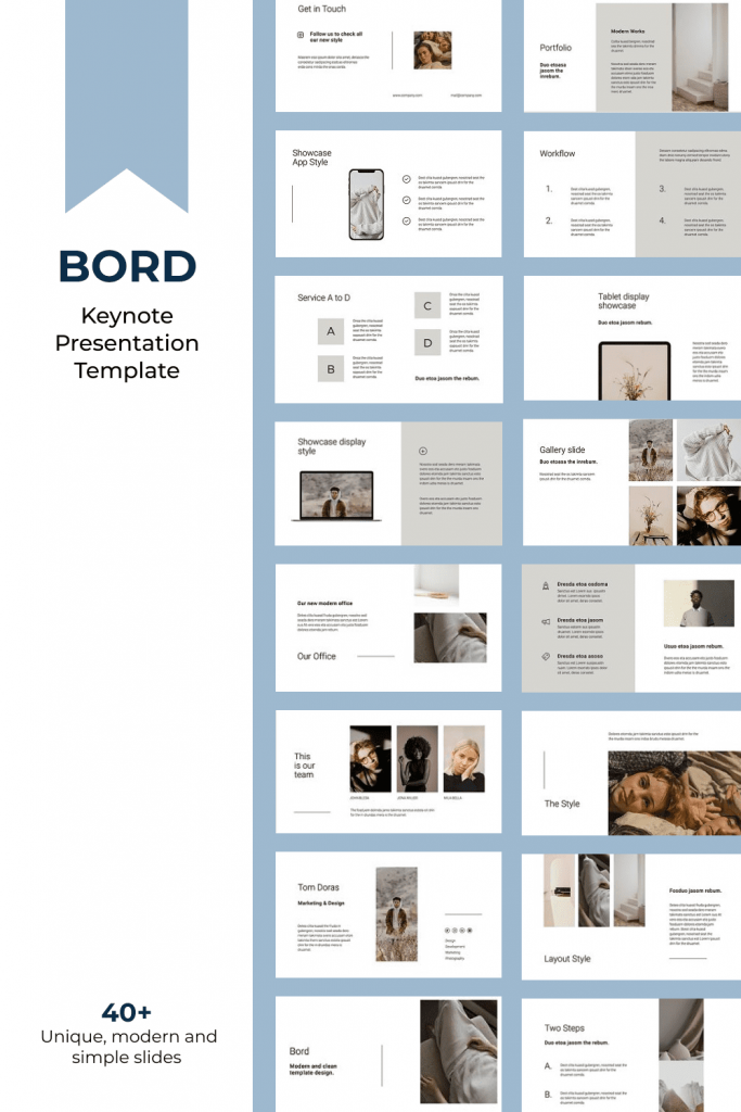 BORD - Neutral Keynote Template by MasterBundles Pinterest Collage Image.