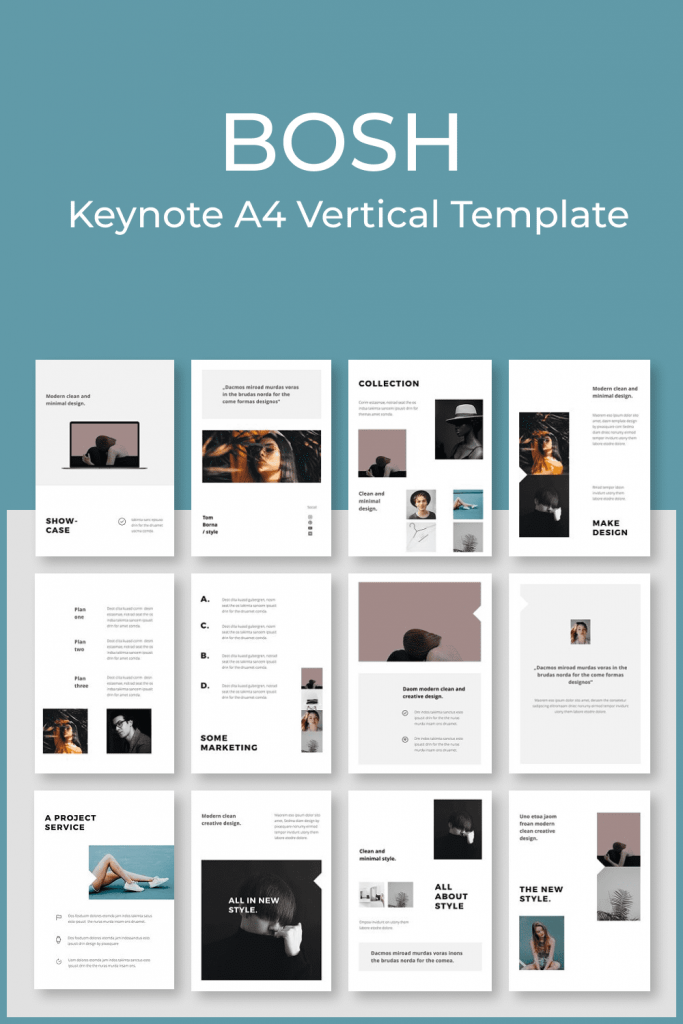 BOSH - Keynote A4 Vertical Template by MasterBundles Pinterest Collage Image.