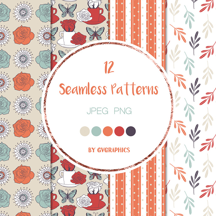4 Butterflies and Roses and Strawberries Seamless Patterns Preview.