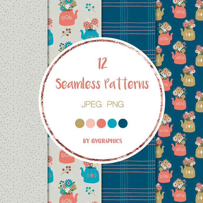 4 Flowers Berries and Teapots Seamless Patterns Preview.
