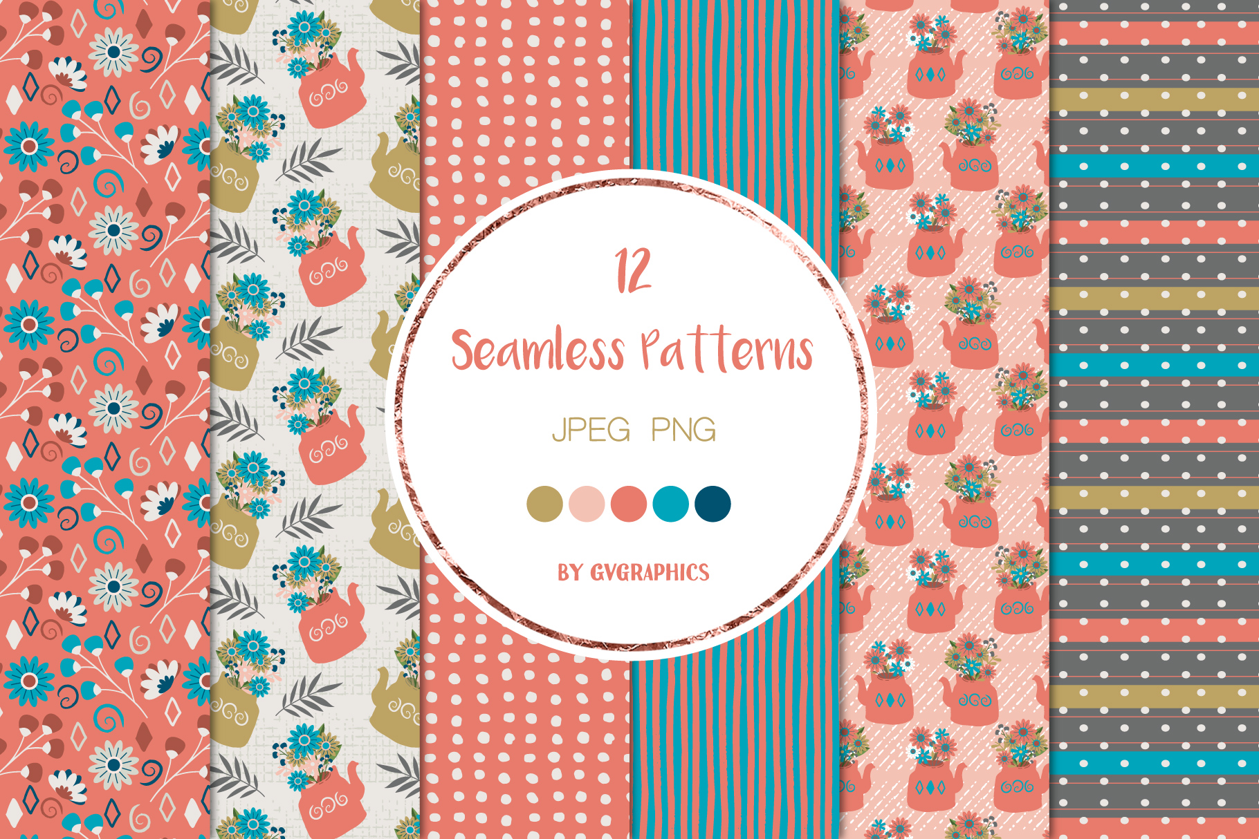 6 Flowers and Berries and Teapots Seamless Patterns.