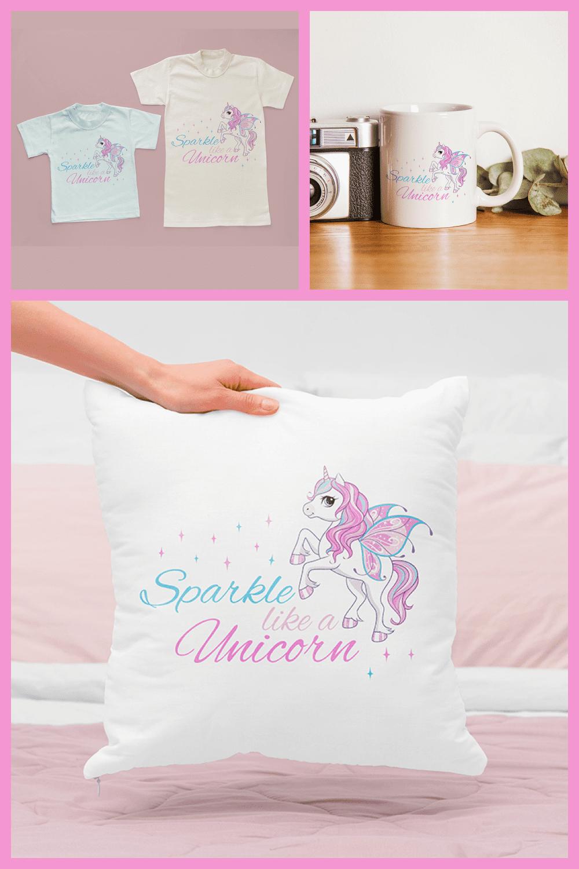 Unicorn Clipart, Unicorn SVG and Sublimation Design - MasterBundles - Pinterest Collage Image.