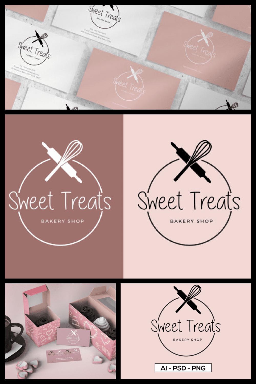 Bakery Logo Design Template, Bakery Logo Vector - MasterBundles - Pinterest Collage Image.