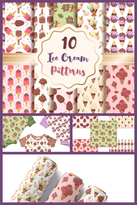 Ice Cream Patterns Digital Paper Set - MasterBundles - Pinterest Collage Image.
