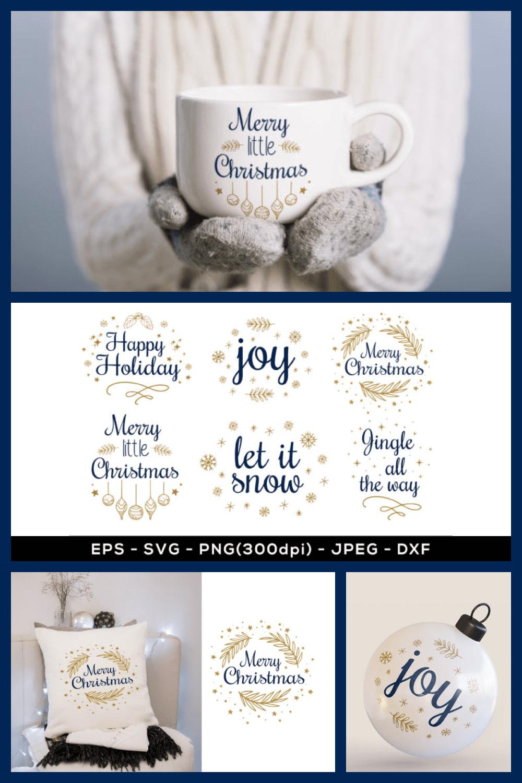 Christmas Sublimation Quotes, Christmas SVG Designs - MasterBundles - Pinterest Collage Image.