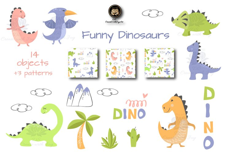 This set of cute dinosaurs will take your children to the world of the Jurassic period, unusual animals and plants. Little kids will see how beautiful the world and its inhabitants are.