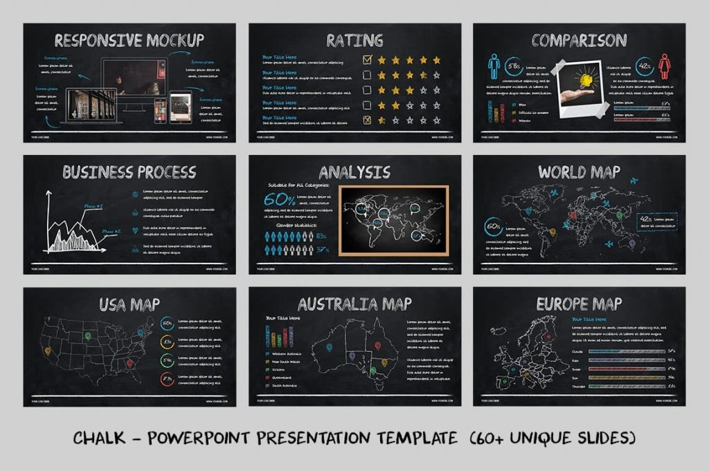 Editable World Map Chalk - Powerpoint Template.