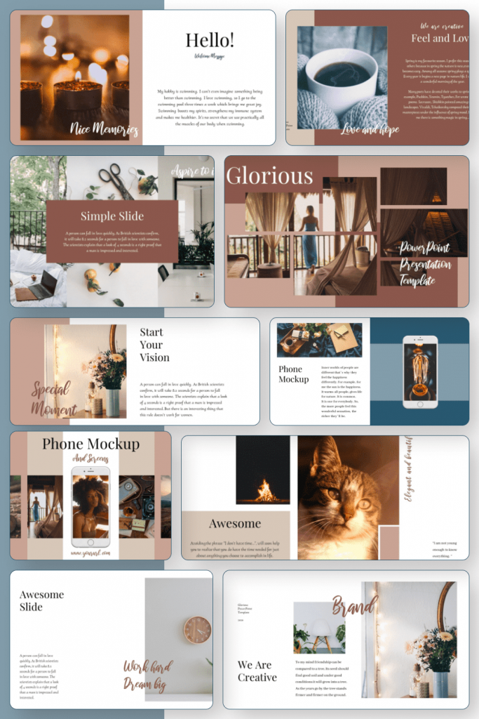 Glorious PowerPoint Template by MasterBundles Pinterest Collage Image.