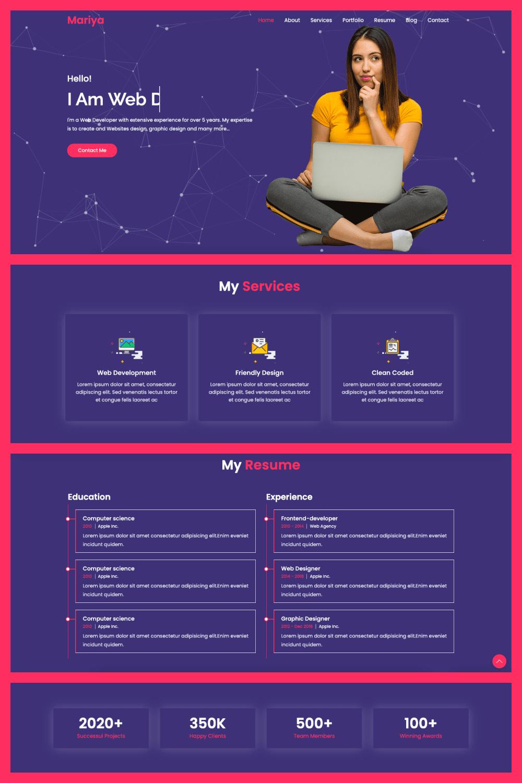 Mariya Personal Portfolio HTML Template - MasterBundles - Pinterest Collage Image.