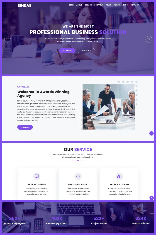Bindas Consulting Business Website Template - MasterBundles - Pinterest Collage Image.