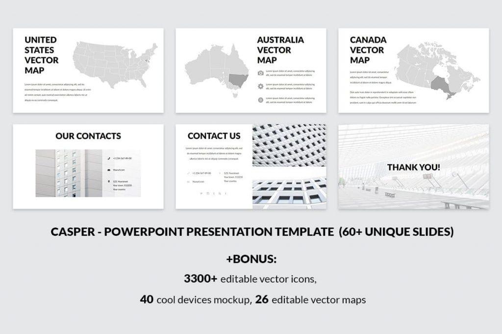 Editable World Maps Casper - Powerpoint Template.