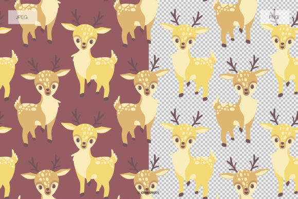 Animals in the Woods Seamless Patterns JPG and PNG Examples.