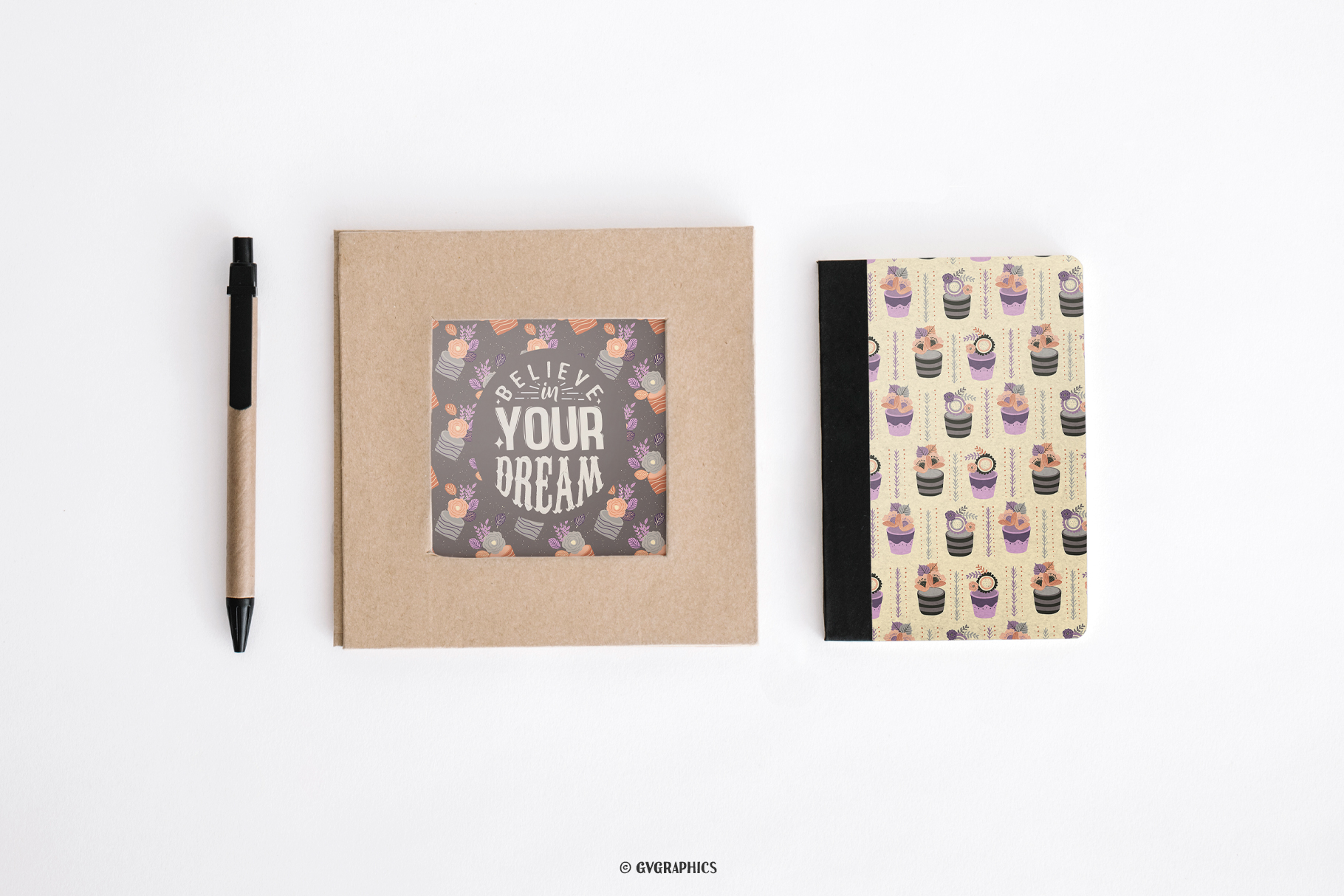 Art Poster And Notebook Made On The Basis Elegant Flowers Seamless Patterns