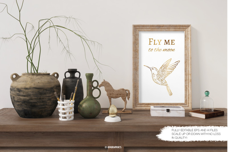 Art Poster Made On The Hand Drawn Vector Bird.