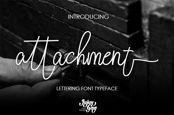Attachment feels equally charming and elegant. This stunning handwritten font is a stylish homage to classic calligraphy.