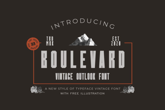 Boulevard is a vintage display font.This typeface features a powerful and vintage styles and it brings cute illustrations.