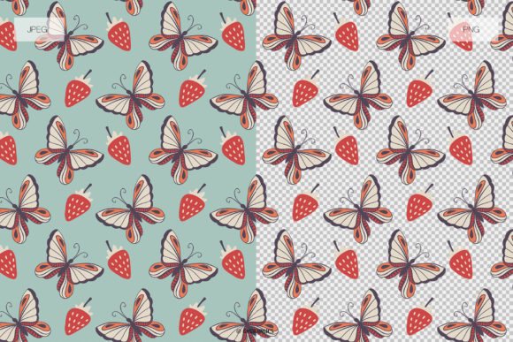 Butterflies Roses and Strawberries Seamless Patterns JPG and PNG Examples.