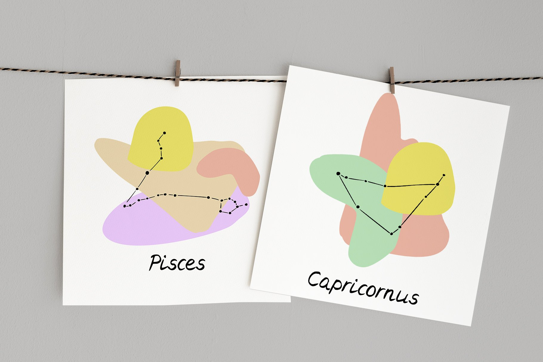 Cards Made On The Abstrac Zodiac Signs Vector Illustration.