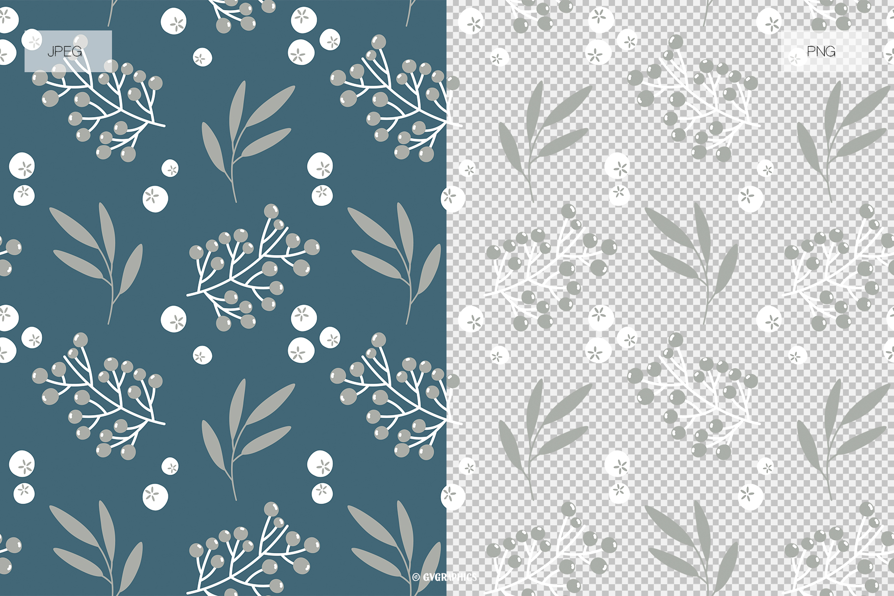 Christmas Seamless Patterns JPG and PNG Examples.