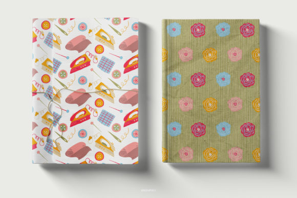Cover Notebooks Made On The Sewing Knitting and Flowers Patterns.