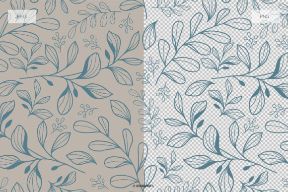 Delicate Flowers Botanical Patterns JPG and PNG Examples.