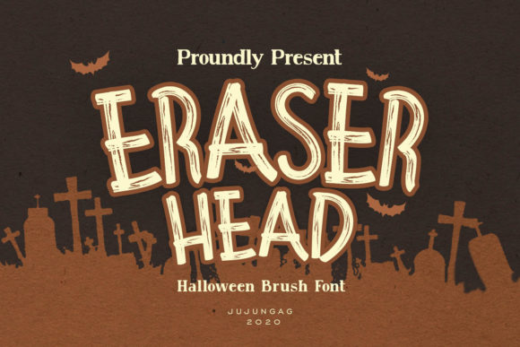 Eraser Head is a halloween-themed display font made with a brush stle.