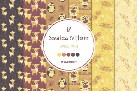 Examples Animals in the Woods Seamless Patterns Graphics.