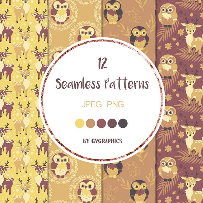 Examples Animals in the Woods Seamless Patterns Preview