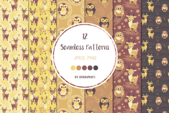 Examples Animals in the Woods Seamless Patterns.
