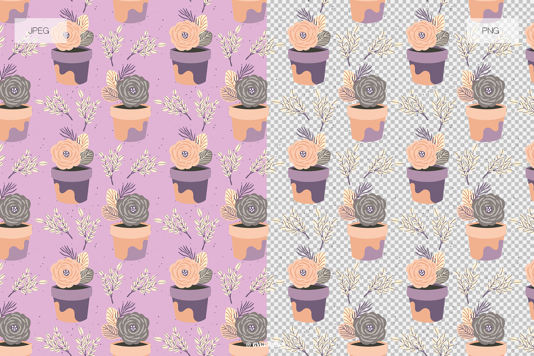 Examples Elegant Flowers Seamless Patterns JPG and PNG